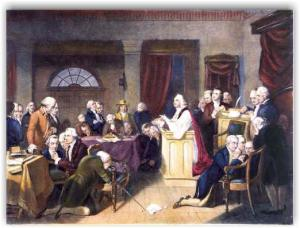 This is the picture of the Constitutional Convention at prayer. Before this their efforts had stagnated, they were deadlocked and unable to proceed. This is a direct result of Benjamin Franklin's admonishment for the convention not inviting God to superintend the proceedings. Not surprisingly, the convention went forward successfully after prayer was instituted as a regular portion. God, our founders knew, was important to their success. We should submit to their wise counsel. This article (click here) on the National Day of Prayer May 2nd 2013 describes the importance of Prayer, inviting our Lord and Savior to superintend our efforts.
