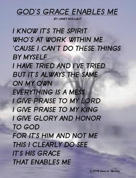 God's grace enables me