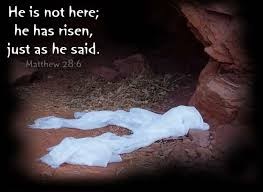 The tomb is empty, the cloths remain, because Jesus is Risen!!!!